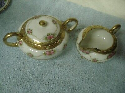 Exquisite Antique HAND PAINTED NIPPON footed floral CREAM & SUGAR with Lid