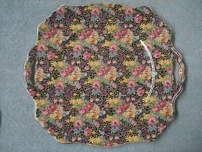 "Vintage Chintz SQUARE HANDLED CAKE PLATE ""HAZEL"" by ROYAL WINTON  England"