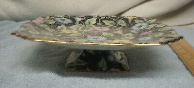 """Vintage Black Chintz FOOTED CAKE PLATE """"MORNING GLORY"""" ROYAL WINTON  England"""