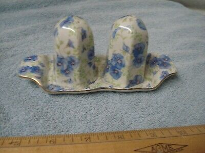"Vintage Chintz ""PANSY"" SALT & PEPPER SHAKERS ON TRAY LORD NELSON WARE England"