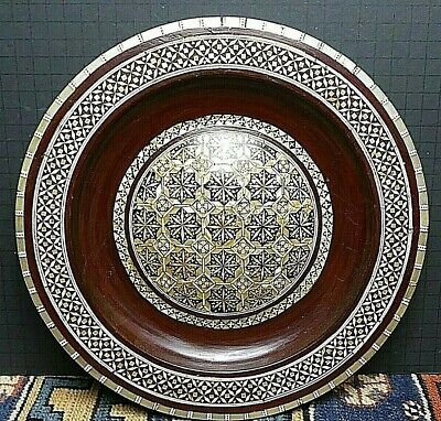 Antique Persian Handmade HEAVILY Inlaid Plate/Wall Decoration WOW!