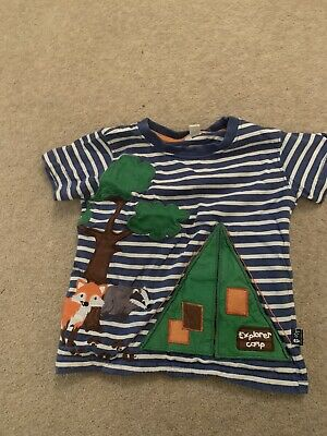 Jojo Maman Bebe Woodland Fox Racoon Tent Blue Stripe T-shirt 2-3 Yrs