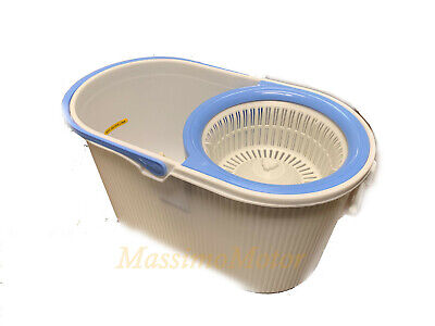 360° Spin Stainless Steel Microfiber Head MOP w/Wringing BUCKET - Blue/White