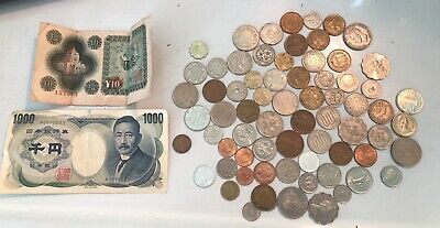 72 pc LOT Un-researched OLD MIXED FOREIGN COIN Paper MONEY World EUROPE JAPAN