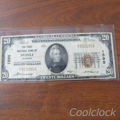 1929 Series $20 National Currency First National Bank of Mobile CH 1595 #Q377