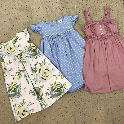 MATILDA JANE Girls Sz 8 LOT OF 3 Soft Knit DRESSES Floral Polka Dot SPRING Play