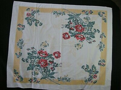 """Vintage Floral Printed Table Cloth 50"""" X 42"""" Rectangle Linen Mid Century 1950s"""
