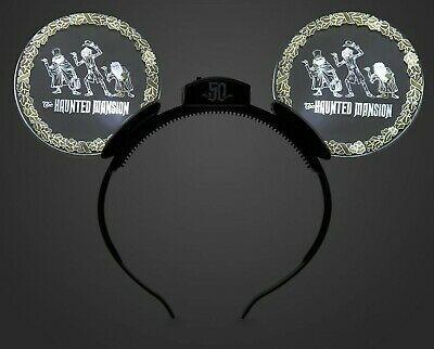 Disney Parks Haunted Mansion 50th Glow Light Up Mickey Mouse Ears Headband NWT