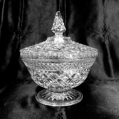 """Wexford Candy Dish & Lid 7.75"""" Tall Pedestal Footed Covered Anchor Hocking Glass"""