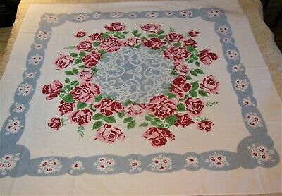 Vintage Tablecloth California Hand Prints? Red Roses White Daised Gray Border