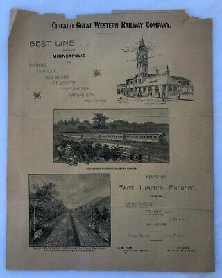 c 1900 CHICAGO GREAT WESTERN RAILWAY Railroad Train Advertising FAST LIMITED EXP