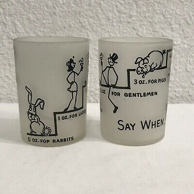 2 VTG SAY WHEN! Hazel Atlas Frosted Shot Glass Rabbit Ladies Gents Pig Jackass