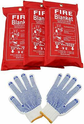 3 Pack Fire Blanket Emergency Flame Retardent Shelter Safety Cover+1 Free Gloves