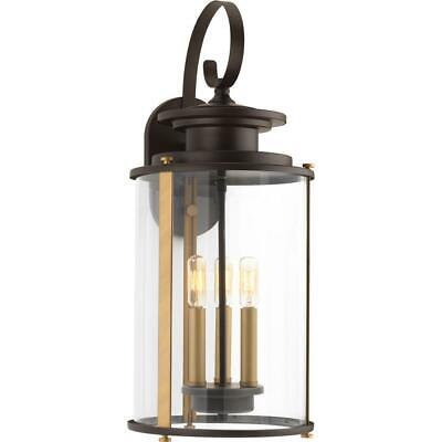 Squire 3-Light Antique Bronze 22.75 in. Outdoor Wall Lantern Sconce