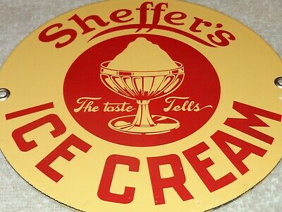 "Vintage Sheffer's Ice Cream 7"" Porcelain Metal Dairy, Gasoline & Oil Queen Sign!"