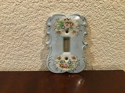 Vintage Porcelain Light Switch Cover Plate, Floral, Hand-Painted