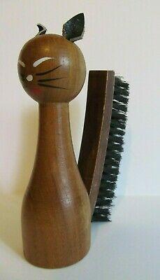 Wood Cat Clothes Brush Teak Leather Nylon Bristle Tail Handpainted Retro MCM Vtg