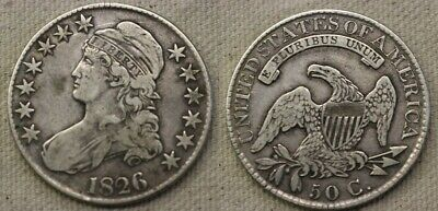1826 Capped Bust Half Dollar, Collector Coin Silver 50c better date