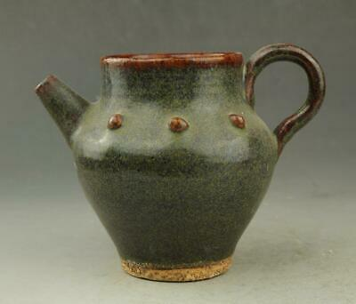 Chinese old hand-carved fambe porcelain green glaze Drum nails teapot / 2 c01