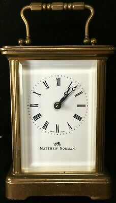 Vintage Matthew Norman Swiss Made Carriage Clock 11 Jewels Key Wind