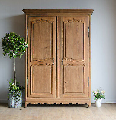 French Antique Late 18C Oak Knockdown Armoire Wardrobe with Hanging Rail & Shelf