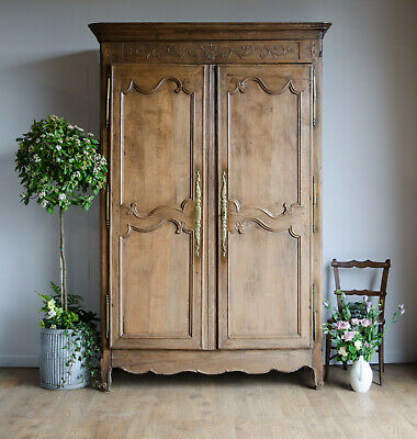French Antique 19C Golden Oak Knockdown Normandy Wedding Armoire Double Wardrobe