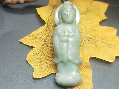 100% China Delicate Hand Carved Myanmar Emerald Wear jewelry Guanyin Pendant