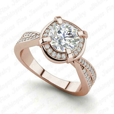 2.50 Ct Round Cut Diamond 10K Rose Gold Finish Engagement Wedding Ring