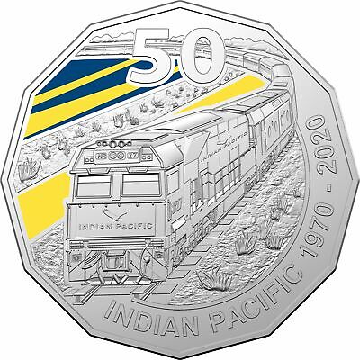2020 50th Anniversary of the Indian Pacific - 50c Coloured Unc Coin - RAM
