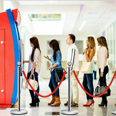 2 Pcs Barrier Crowd Control Stanchion Queue Velvet Rope
