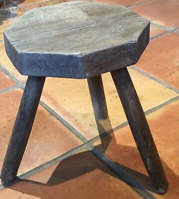 Antique Oak Milking Stool, 3 Splayed Legs. Ideal Pot Stand Or Side Table.
