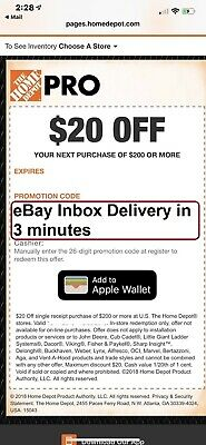 One 1x Home Depot $20 off $200 In-Store Only-1Coupon --FAST_SENT