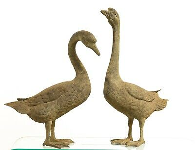 Antique Mid 20th Century Cast Metal Life Size Geese with Lovely Verdigris Patina