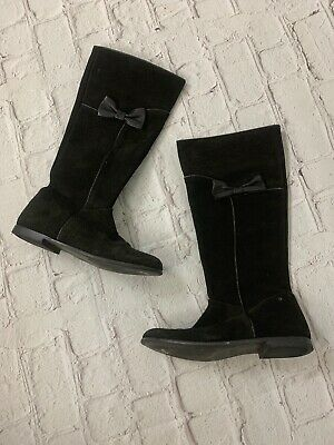 Jacadi Paris Girls Black Suede Knee High Boots Bow Detail 36 Girls Kids