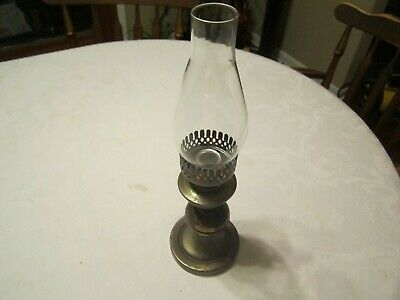 Vintage Wood Brass Metal CANDLE Candlestick Holder with Glass Chimney