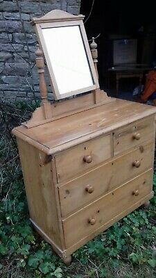 Victorian Stripped Pine Dressing Table With Mirror