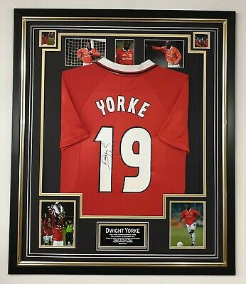 Dwight Yorke of MANCHESTER UNITED Signed Shirt Autographed Display 1999 CHAMPION