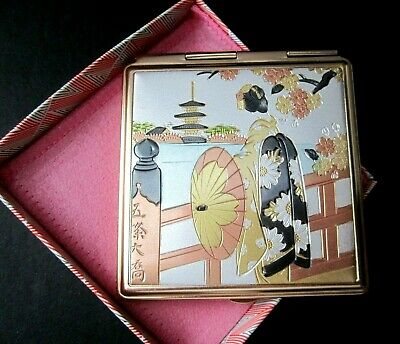 Art of Chokin Compact with Mirrors and Pink Fabric Case made in Japan Never Used