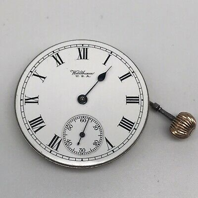 Waltham pocket watch movement with winding button