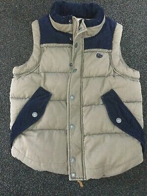 Fat Face Boys Beige and Navy Blue Gilet Age 10-11 yrs