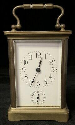 Antique Alarm Carriage Clock H&H Harris & Harrington Working Bronze Glass French