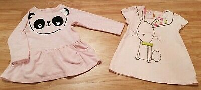 2 x Cute Baby Girls Pink Dresses 6-9 months From Next/TU