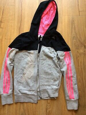 girls adidas tracksuit top hooded zipped age 11-12