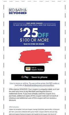 BED BATH & BEYOND: $25 Off $100- Fast Delivery