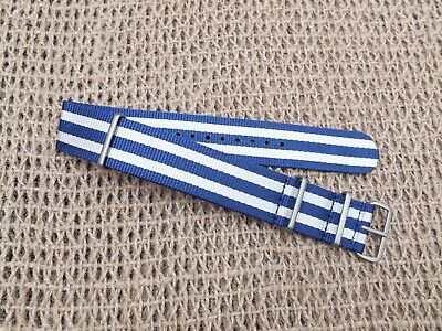 Zuludiver Ballistic Nylon G10 Divers watch strap Blue&White 22mm /Brushed Buckle