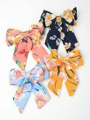 New Hair Barrette Hair Clip with Fabric Flower Print Bow Pink Blue Yellow Navy