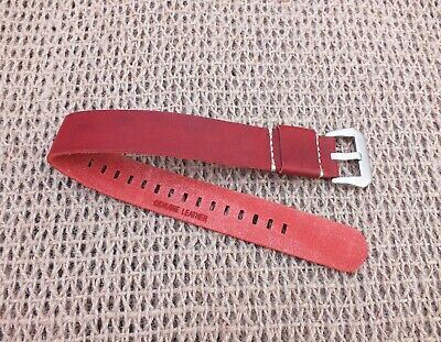 Genuine Leather G10 Cherry Red Leather watch strap 22mm by Zuludiver
