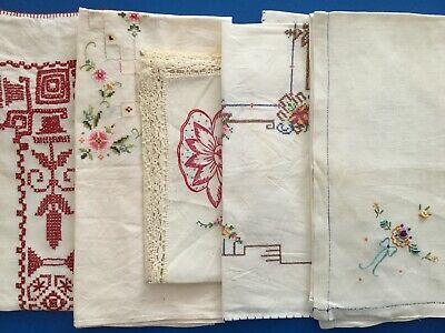 Lot Of 5 Small Vintage Embroidered Tablecloths - 021506