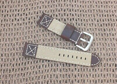 Zuludiver Canvas on Genuine Leather Coffee Brown  Watch strap 22mm