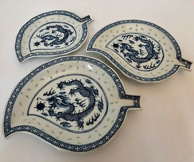 Antique Chinese Porcelain Nesting Dishes Plates Blue and White Dragon Qing RARE